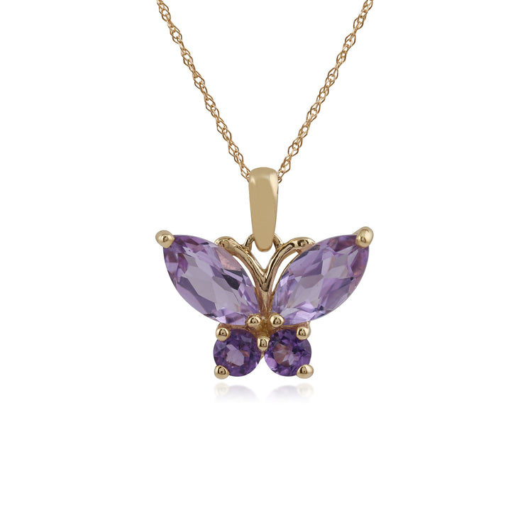 Gemondo 9ct Yellow Gold 1.15ct Amethyst Butterfly Pendant on 45cm Chain Image