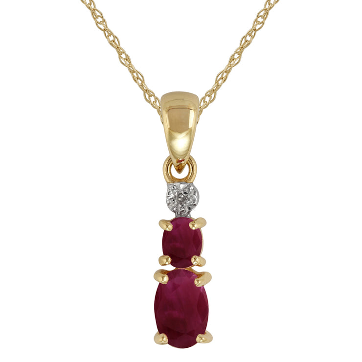 Classic Oval Ruby & Diamond Pendant in 9ct Yellow Gold