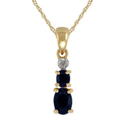 Classic Oval Sapphire & Diamond Pendant in 9ct Yellow Gold