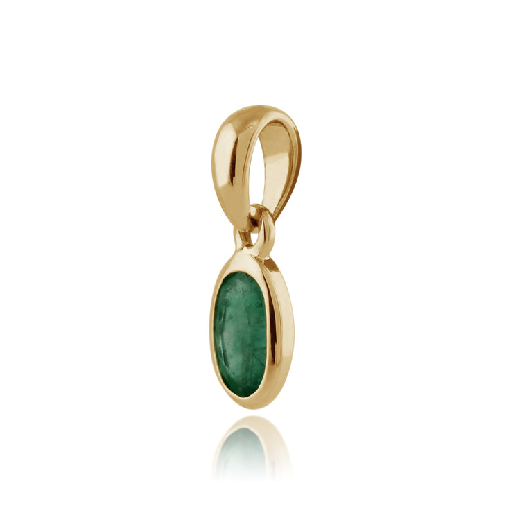 Classic Oval Emerald Pendant in 9ct Yellow Gold