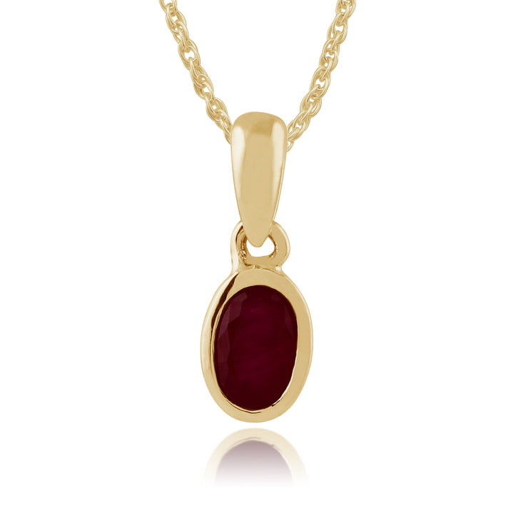 Classic Oval Ruby Pendant in 9ct Yellow Gold
