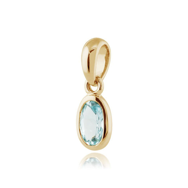 Classic Oval Aquamarine Pendant in 9ct Yellow Gold