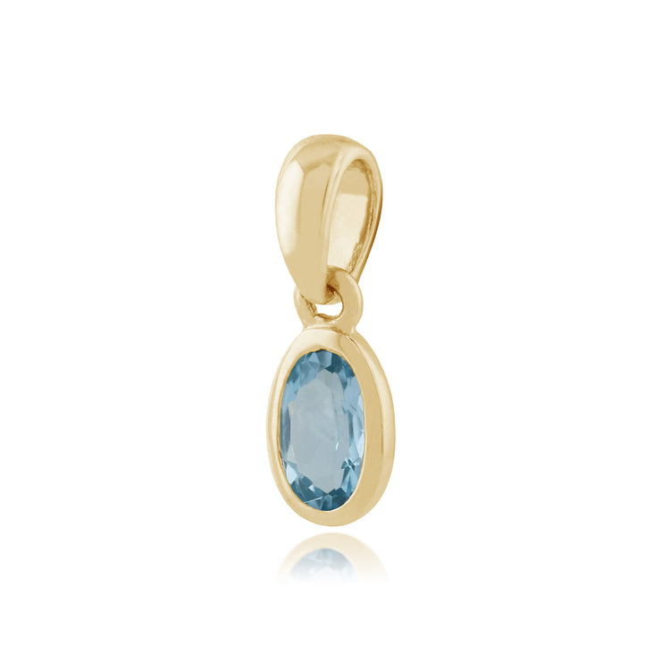 Classic Oval Blue Topaz Bezel Set Pendant in 9ct Yellow Gold