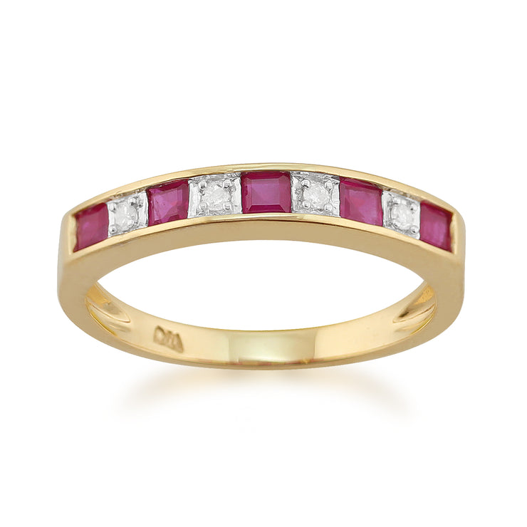 Classic Square Ruby & Diamond Half Eternity Ring in 9ct Yellow Gold