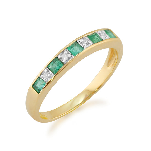Classic Square Emerald & Diamond Half Eternity Ring in 9ct Yellow Gold