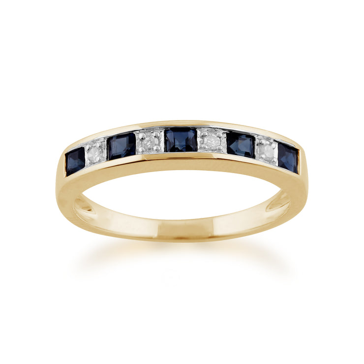 Classic Square Sapphire & Diamond Half Eternity Ring in Yellow 9ct Gold