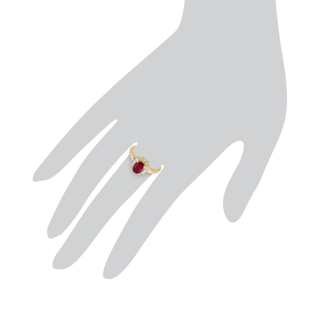 Classic Oval Ruby & Diamond Cluster Ring in 9ct Yellow Gold