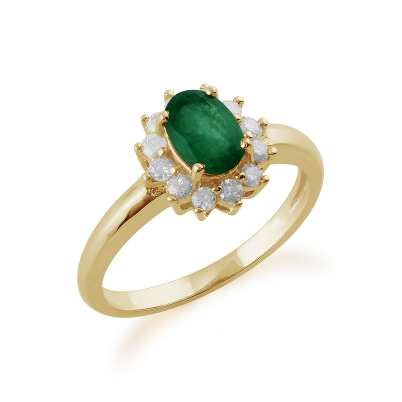 Classic Oval Emerald & Diamond Cluster Ring in 9ct Yellow Gold