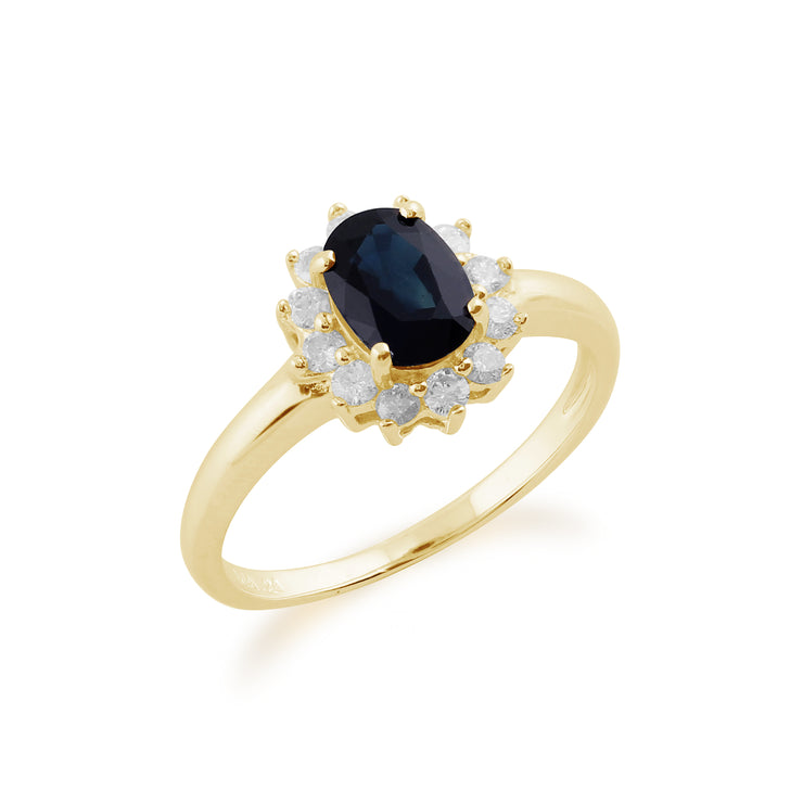 Classic Oval Sapphire & Diamond Cluster Ring in 9ct Yellow Gold Side