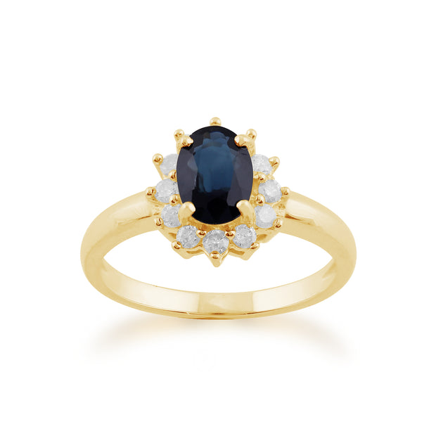 Classic Oval Sapphire & Diamond Cluster Ring in 9ct Yellow Gold