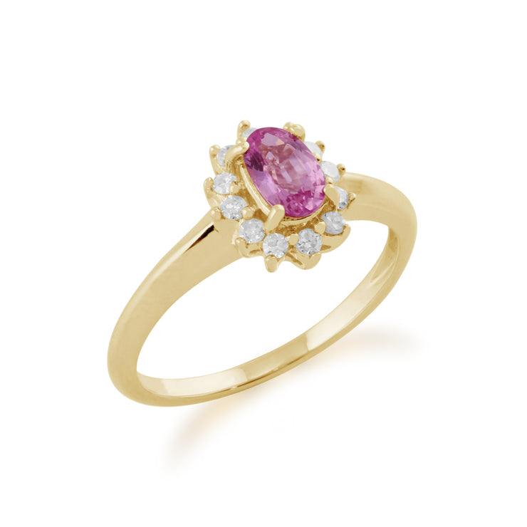 Classic Oval Pink Sapphire & Diamond Cluster Ring in 9ct Yellow Gold Side