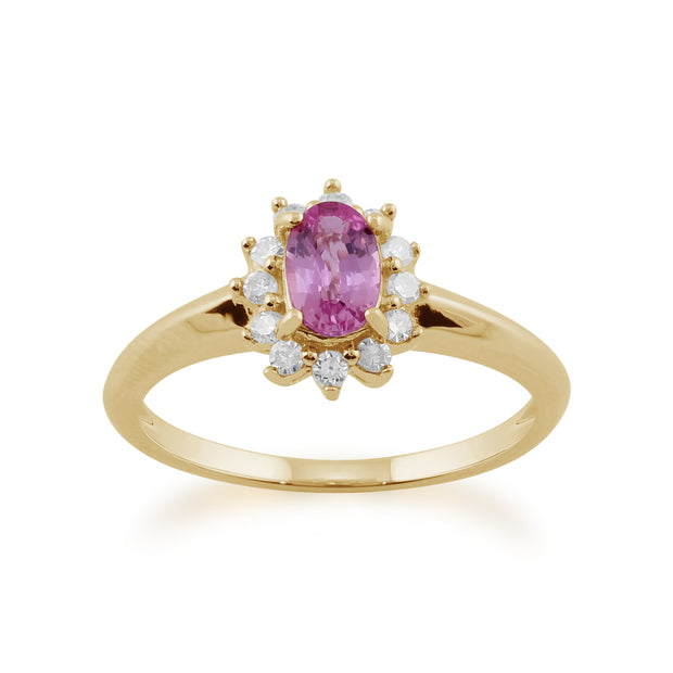 Classic Oval Pink Sapphire & Diamond Cluster Ring in 9ct Yellow Gold