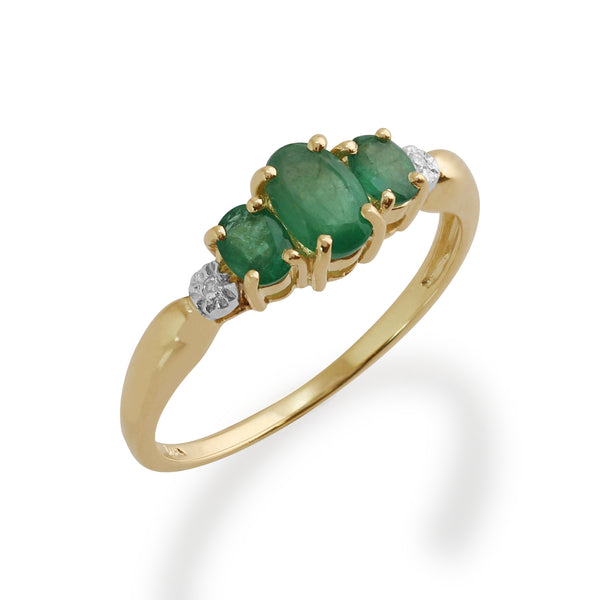 Classic Oval Emerald & Diamond Trilogy Ring in 9ct Yellow Gold