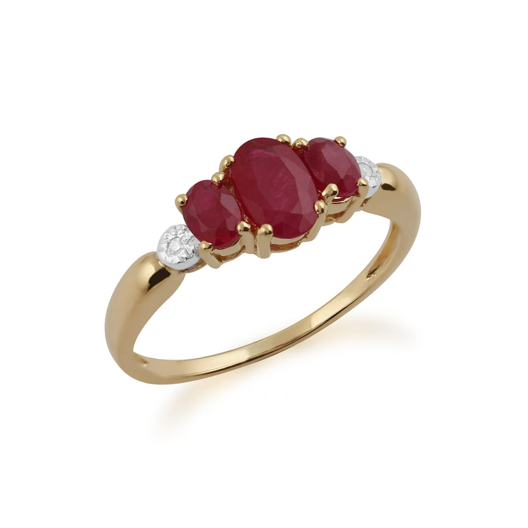 Classic Oval Ruby & Diamond Trilogy Ring in 9ct Yellow Gold