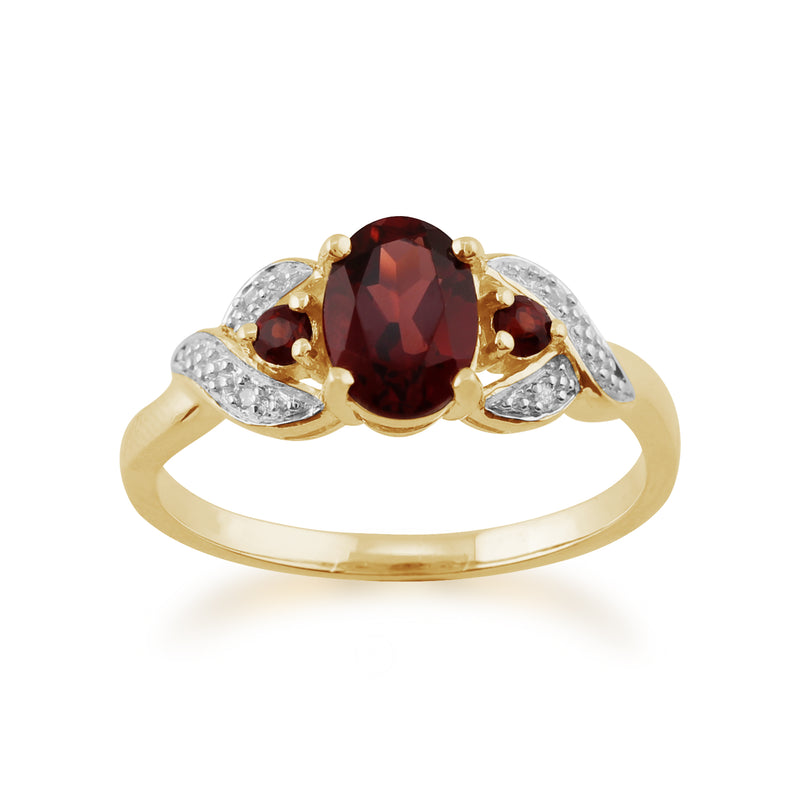 Classic Oval Mozambique Garnet & Diamond Ring in 9ct Yellow Gold