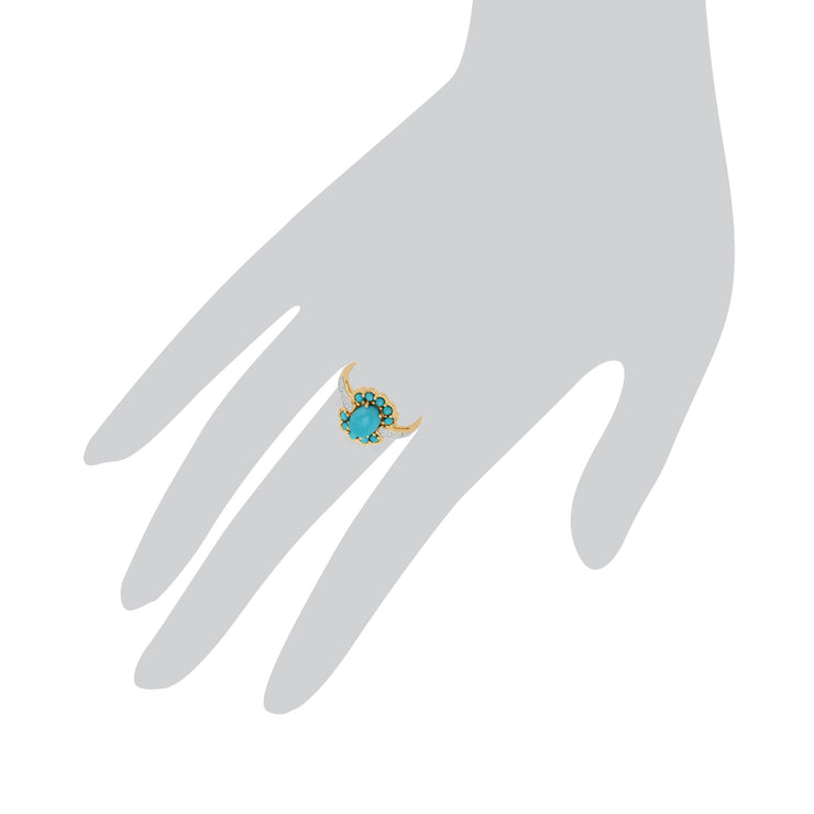 Contemporary Oval Turquoise & Diamond Boho Ring in 9ct Yellow Gold