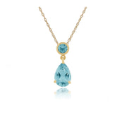 Classic Pear Blue Topaz Pendant in 9ct Yellow Gold