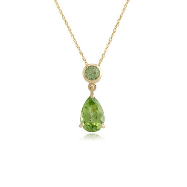 Classic Pear & Round Peridot Pendant in 9ct Yellow Gold