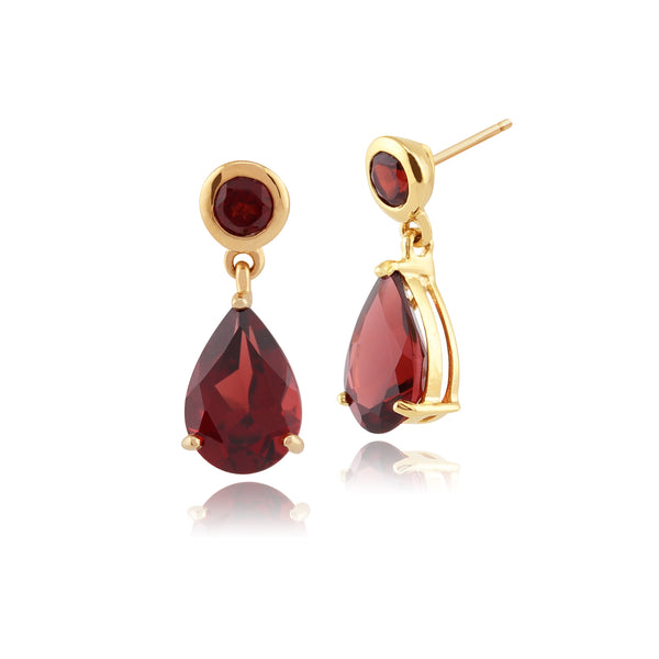 Classic Pear Garnet Drop Earrings in 9ct Yellow Gold