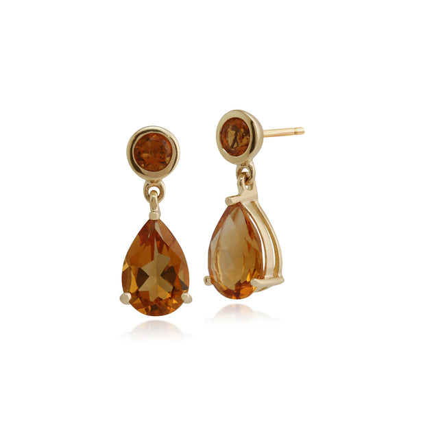Classic Pear & Round Citrine Drop Earrings in 9ct Yellow Gold