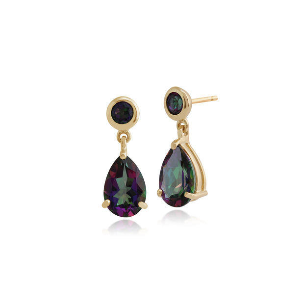 Classic Pear & Round Mystic Topaz Drop Earrings in 9ct Yellow Gold