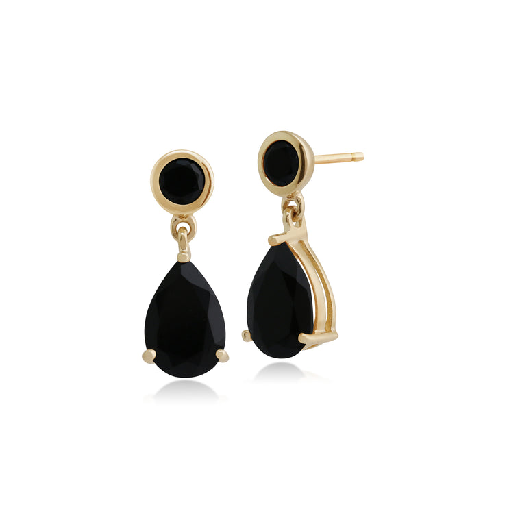 Classic Pear & Round Black Onyx Drop Earrings in 9ct Yellow Gold