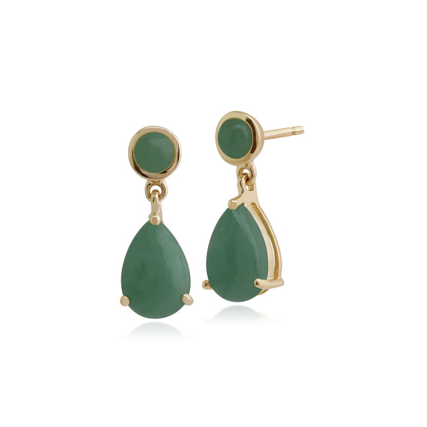 Classic Pear & Round Green Jade Drop Earrings in 9ct Yellow Gold