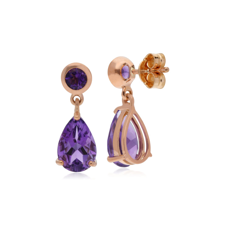 Classic Pear & Round Amethyst Drop Earrings in 9ct Rose Gold