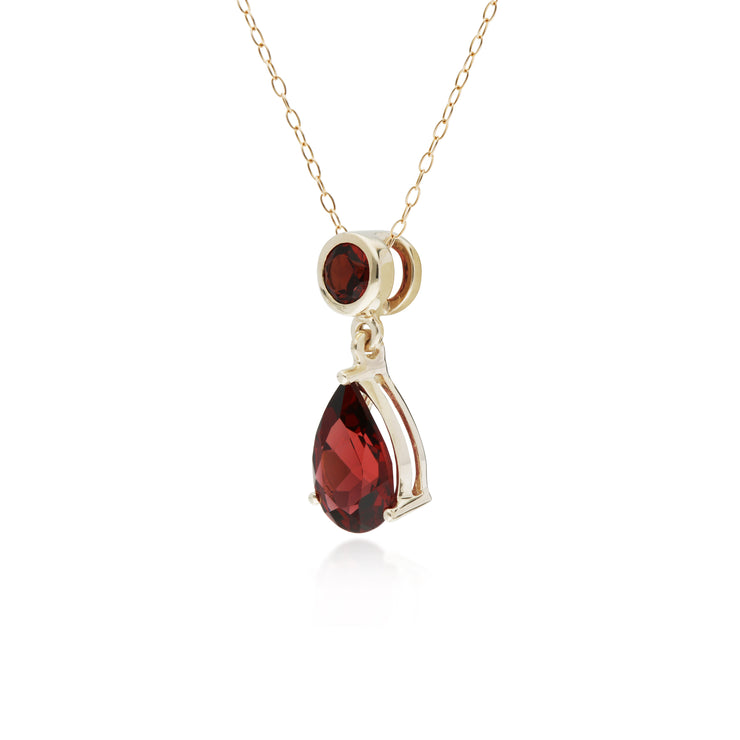 10ct Yellow Gold Garnet Two Stone Pendant on 45cm Chain