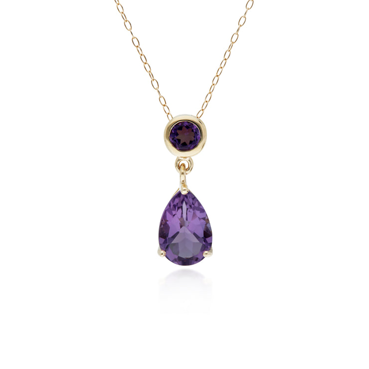 10ct Yellow Gold Amethyst Two Stone Pendant on 45cm Chain