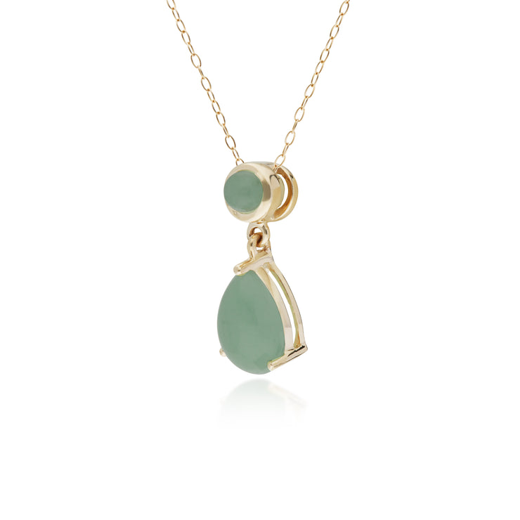 10ct Yellow Gold Jade Two Stone Pendant on 45cm Chain