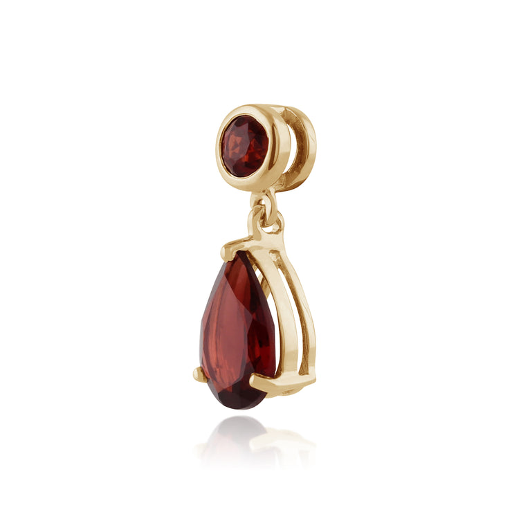Classic Pear Garnet Pendant in 9ct Yellow Gold
