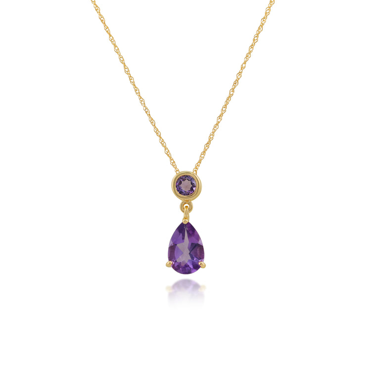 Classic Pear Amethyst Pendant in 9ct Yellow Gold