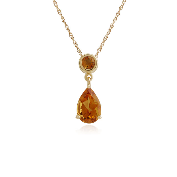 Classic Pear & Round Citrine Pendant in 9ct Yellow Gold