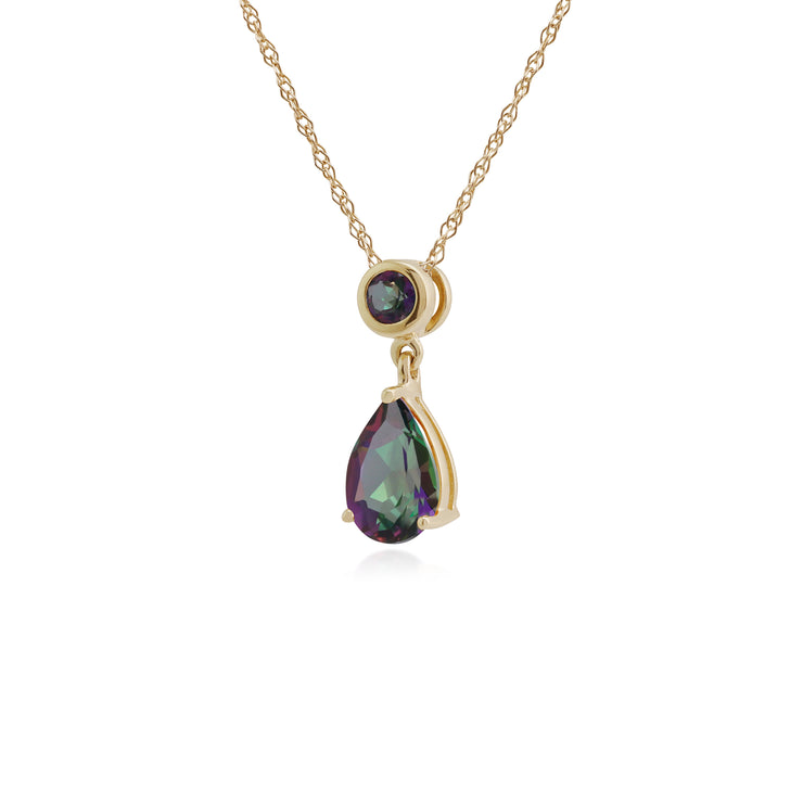 Classic Pear & Round Mystic Topaz Pendant in 9ct Yellow Gold