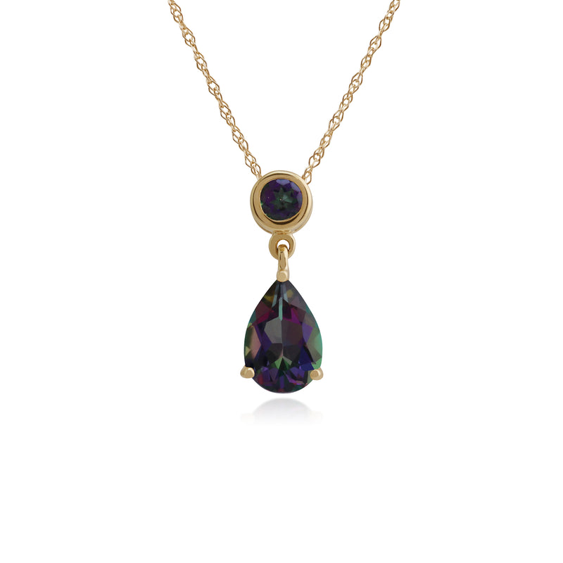 Classic Pear & Round Mystic Topaz Drop Earrings & Pendant Set in 9ct Yellow Gold