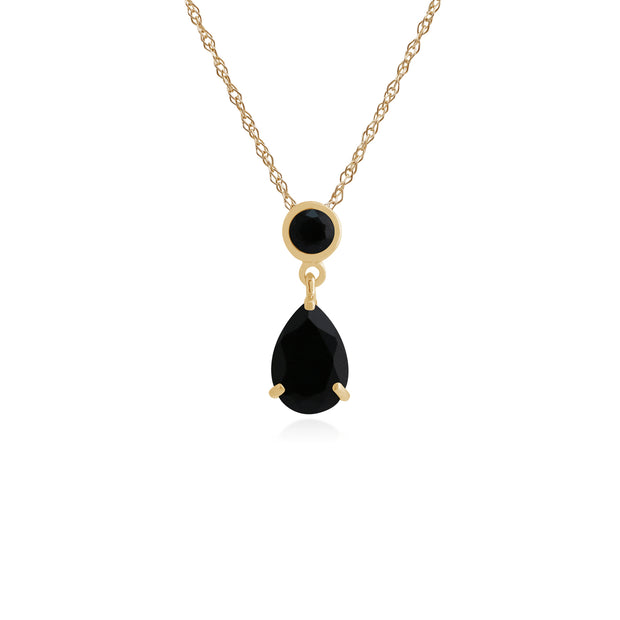 Classic Pear & Round Black Onyx Pendant in 9ct Yellow Gold