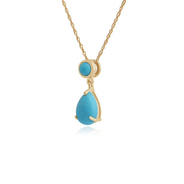 Classic Pear & Round Turquoise Pendant in 9ct Yellow Gold