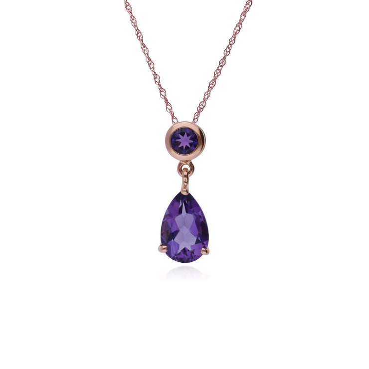 Classic Pear & Round Amethyst Drop Pendant in 9ct Rose Gold
