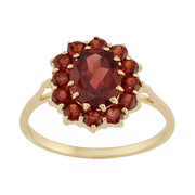 Classic Oval Garnet Cluster Ring in 9ct Yellow Gold