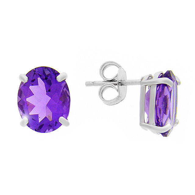 Image of            9ct White Gold 4.00ct Oval Cut Natural Amethyst Classic Stud Earrings
