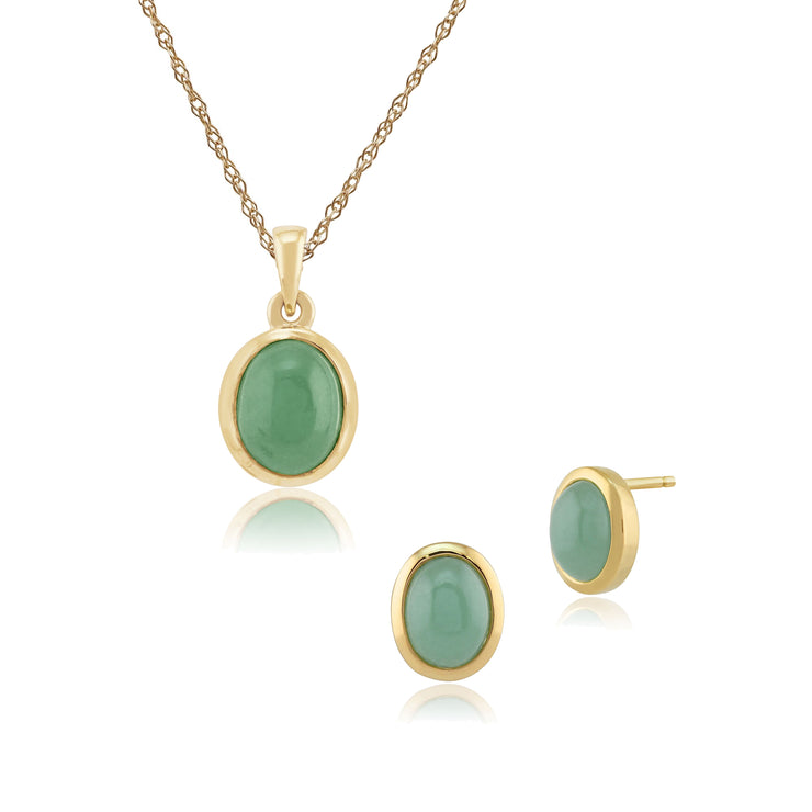 Classic Oval Jade Bezel Stud Earrings & Pendant Set in 9ct Yellow Gold