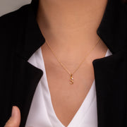 Initial S Diamond Letter Necklace in 9ct Yellow Gold