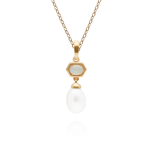 Modern Pearl & Opal Hexagon Drop Pendant in Gold Plated 925 Sterling Silver