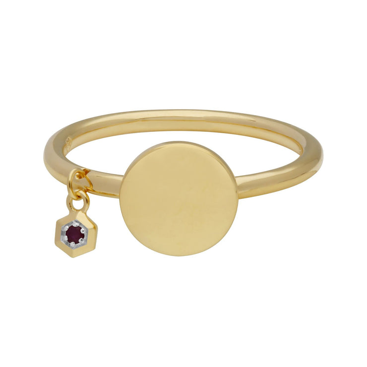 Ruby Engravable Ring in Yellow Gold Plated Sterling Silver