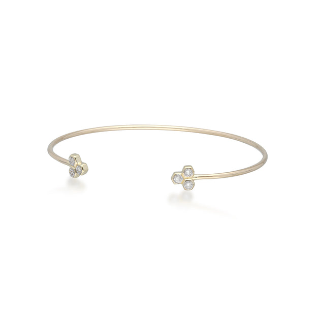 Diamond Pavé Hexagon Open Bangle in 9ct Yellow Gold 1