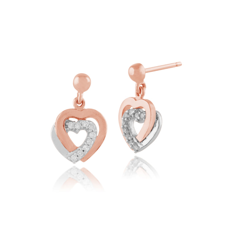 Classic Round Diamond Heart Drop Earrings in 9ct Rose Gold