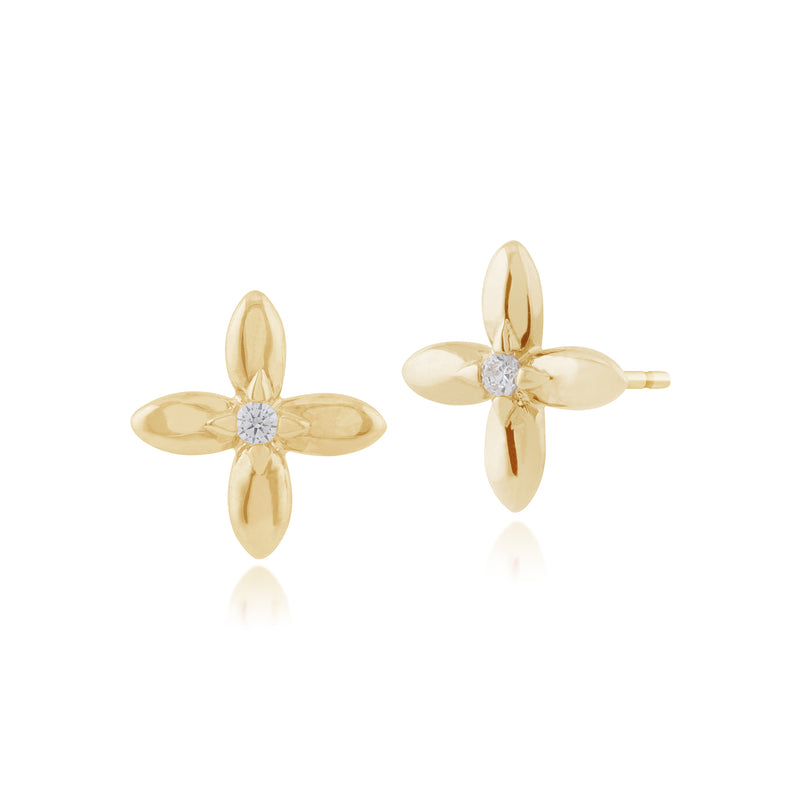 Floral Round Diamond Golden Flower Stud Earrings in 9ct Yellow Gold