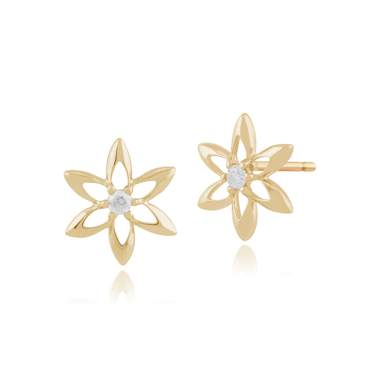 Floral Round Diamond Flower Frame Stud Earrings in 9ct Yellow Gold