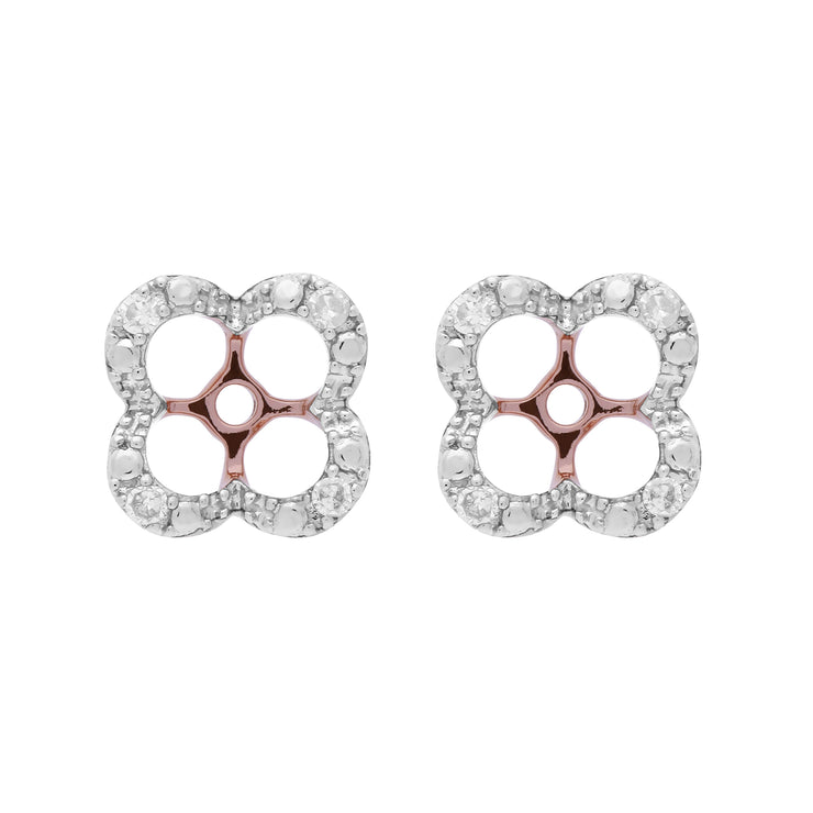 Floral Round Diamond Clover Shape Earrings Jacked in 9ct Rose Gold